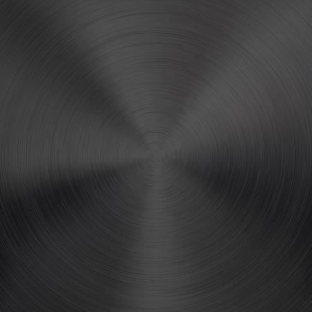 Fondo negro del metal con textura cepillada circular realistas cromo, hierro, acero inoxidable, plata para los sitios de Internet, las interfaces de usuario web ui y aplicaciones de dise�o ilustraci�n aplicaciones Vectores