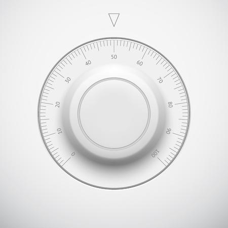 Nastavení Bílá technika hudba tlačítko hlasitosti banner, zvukové ovládací knoflík se stupnicí, realistický stín světlém pozadí na internetových stránkách, webové uživatelské rozhraní UI a aplikace app
