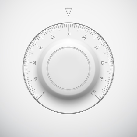 White technology music button  volume settings banner, sound control knob  with scale, realistic shadow light background for internet sites, web user interfaces  UI  and applications  app  Vector