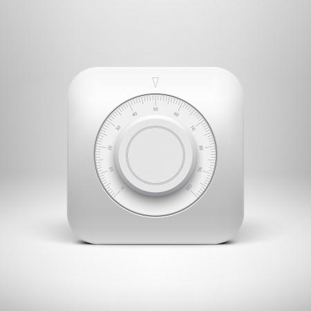 Bílá technika tlačítko hudba nastavení hlasitosti banner, ovládání zvuku knoflík se stupnicí, realistický stín světlé pozadí pro internetové stránky, webové uživatelské rozhraní, rozhraní a aplikací App