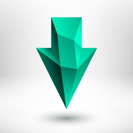 3d green  emerald, jade, aquamarine, mint, pale green  down arrow sign with realistic shadow and light background for internet sites, web user interfaces  ui  and applications  apps   Vector