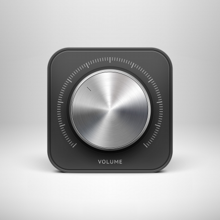 computer user: Abstract technology app icon with music button  volume banner, sound control knob , metal texture  stainless steel, chrome, silver , shadow and light background for web user interfaces  UI  and applications