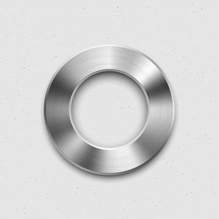 抽象的なテクノロジー音楽ボタン ボリューム バナー、サウンド コントロール ノブと金属の質感鋼、クロム、銀、影と明るい背景の web ユーザー イ  イラスト・ベクター素材