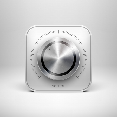Abstract technology app icon with music button  volume, sound control knob , metal texture  stainless steel, chrome, silver , shadow and light background for web user interfaces  UI  and applications
