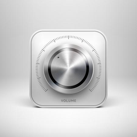 Resumen de tecnolog�a App icono con el bot�n volumen de la m�sica, el mando de control de sonido, metal textura de acero inoxidable, cromo, plata, sombra y luz de fondo para las interfaces de usuario de interfaz de usuario web y aplicaciones Vectores