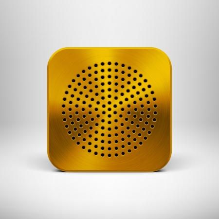 Кнопки: Значок кнопки Технология приложение Пустой шаблон с круг перфорированная динамик металлической текстурой рисунка, реалистичные тени и света фона для веб-интерфейс пользователя UI и приложений приложений