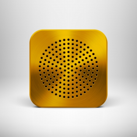 Technology app icon  button  blank template with circle perforated speaker grill metal texture  pattern , realistic shadow and light background for web user interfaces  UI  and applications  apps   Vector