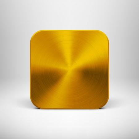 金の金属の質感のステンレス鋼、クロム、銀、リアルな影、web ユーザーに対して明るい背景で抽象的な技術アイコン ボタン インターフェイス UI と