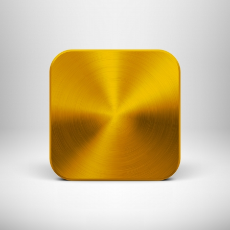 Abstract technology icon  button  with gold metal texture  stainless steel, chrome, silver , realistic shadow and light background for web user interfaces  UI  and applications  apps   Vector