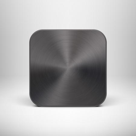 黒い金属の質感ステンレス鋼、クロム、銀、リアルな影と明るい背景のインターネット サイトと抽象的なテクノロジーのアイコン ボタン、web ユー
