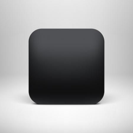 技術空白の黒のアプリ アイコン ボタン テンプレート現実的な影と明るい背景のインター ネット サイト、web ユーザ インター フェース ui およびア  イラスト・ベクター素材