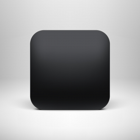 Tecnolog�a negro plantilla de botones icono de la aplicaci�n en blanco con la sombra realista y la luz de fondo para los sitios de Internet, interfaces de usuario de la web y las aplicaciones de aplicaci�n ui Vector ilustraci�n, dise�o, Vectores