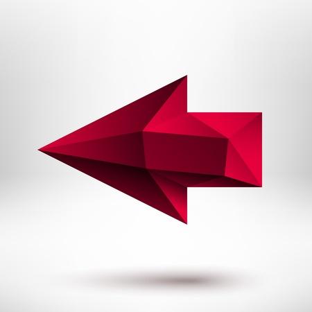 carmine: 3d rojo signo flecha hacia la izquierda con la sombra realista y la luz de fondo para los sitios de Internet, interfaces de usuario de la web la interfaz de usuario y las aplicaciones apps Vector Vectores