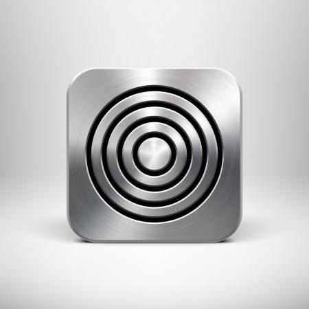 aluminio: Tecnolog�a de aplicaci�n plantilla bot�n de icono con la textura del metal del cromo, plata, acero, sombra realista y la luz de fondo para las interfaces de usuario de interfaz de usuario, las aplicaciones de aplicaciones y presentaciones de negocios Vectores