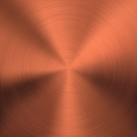 cobre: Fondo de metal de bronce con la circular realistas cromo cepillado textura, hierro, acero inoxidable, plata para las interfaces de usuario de interfaz de usuario, las aplicaciones de aplicaciones y presentaciones de negocios ilustraci�n vectorial