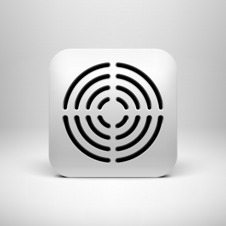 White technology app icon  button  template with circle perforated speaker grill pattern  texture  , realistic shadow and light background user interfaces  UI , applications  apps  and presentations  Vector
