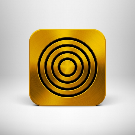 Technology app icon  button  template with gold metal texture  chrome, silver, steel, bronze , shadow and light background for user interfaces  UI , applications  apps  and business presentations Stock Vector - 19873651
