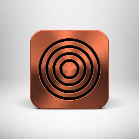 Technology app icon  button  template with bronze metal texture  chrome, silver, steel, copper , shadow and light background for user interfaces  UI , applications  apps  and business presentations Stock Vector - 19873678