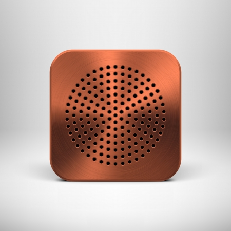 Technology app icon  button  template with bronze metal texture  chrome, steel, copper , circle perforated speaker grill pattern and light background for user interfaces  UI  and applications  apps   Vector