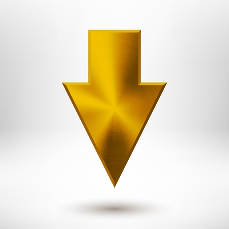 Down arrow sign with gold metal texture  silver, chrome, stainless steel, iron, bronze , light background and shadow for web user interfaces  UI , applications  apps  and business presentations   イラスト・ベクター素材