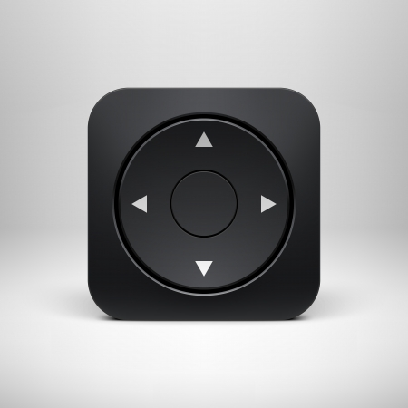 Technology black joystick app icon  button  template with realistic shadow and light background for user interfaces  UI , applications  apps  and business presentations  Vector illustration  Illustration