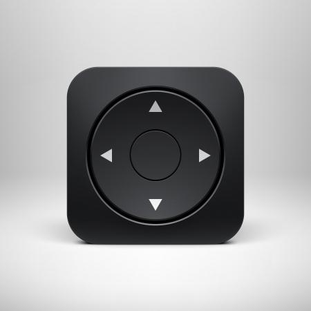 ios: Technologie noir joystick app ic�ne mod�le de bouton avec une ombre r�aliste et fond clair pour les interfaces utilisateur, les applications d'interface utilisateur des applications et les pr�sentations d'affaires Vector illustration Illustration