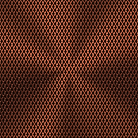 Technology background with bronze metal texture (chrome, silver, steel, iron, copper) and seamless perforated lozenge pattern for user interfaces (UI), applications (apps) and business presentations. Vector