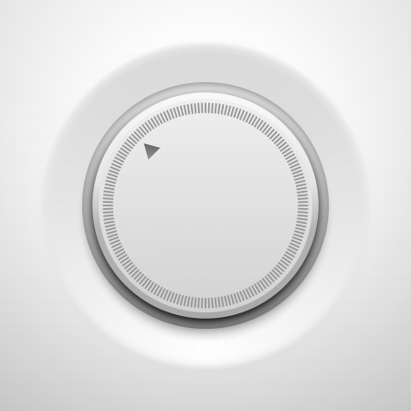 volume knob: White technology music button (volume settings banner, sound control knob) with realistic shadow light background for internet sites, web user interfaces (UI) and applications (apps). Vector design.