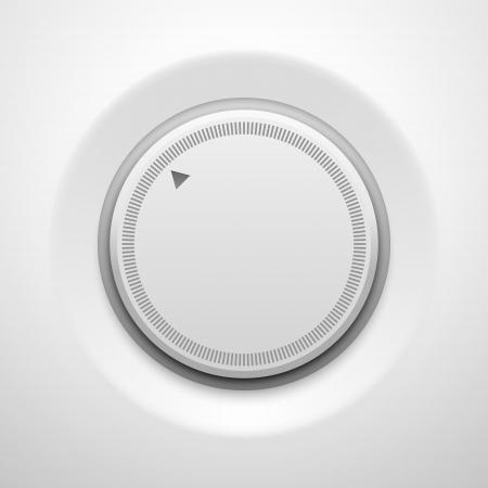 White Tlačítko technologie hudba (nastavení hlasitosti banner, zvuk ovladač) s realistickou stín světlém pozadí pro internetové stránky, webové uživatelské rozhraní (UI) a aplikace (APPS). Vector výprava. Reklamní fotografie - 20367899