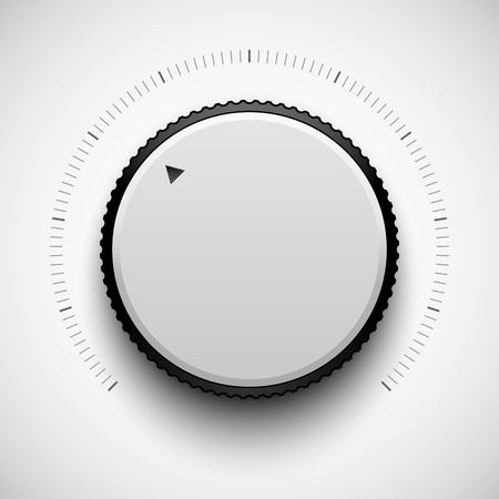 White technology music button (volume settings banner, sound control knob) with realistic shadow light background for internet sites, web user interfaces (UI) and applications (apps). Vector design.