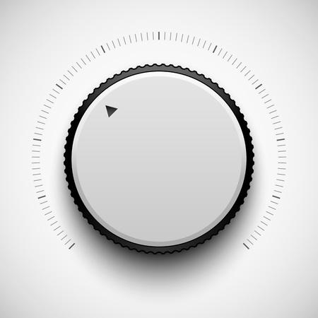 White Tlačítko technologie hudba (nastavení hlasitosti banner, zvuk ovladač) s realistickou stín světlém pozadí pro internetové stránky, webové uživatelské rozhraní (UI) a aplikace (APPS). Vector výprava. Ilustrace