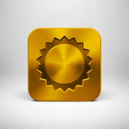 Technology app icon (button) template with sun symbol, gold metal texture (chrome, silver, steel, bronze), shadow and light background for user interfaces (UI), applications (apps) and presentations. Stock Vector - 20367909