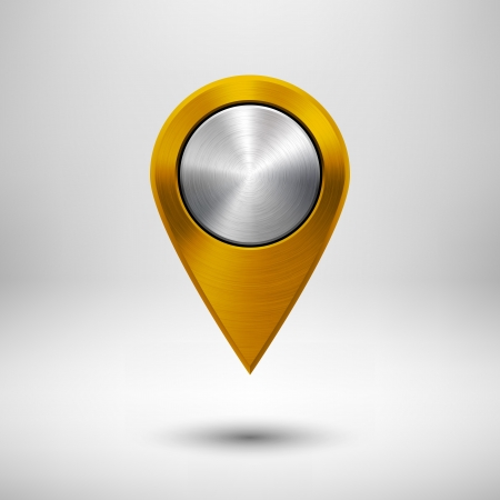 Technology map pointer (button, badge) template with gold metal texture (chrome, silver, steel), realistic shadow and light background for user interfaces (UI), applications (apps) and presentations. Ilustrace