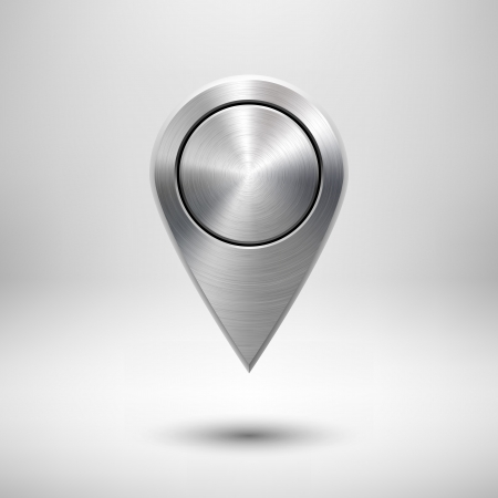 Technology map pointer (button, badge) template with metal texture (chrome, silver, steel), realistic shadow and light background for user interfaces (UI), applications (apps) and presentations.
