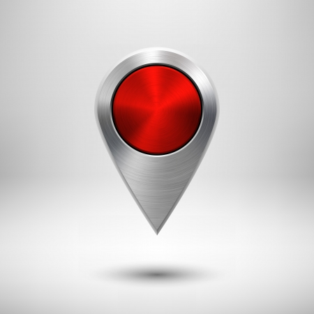 Technology map pointer (button, badge) template with red metal texture (chrome, silver, steel), realistic shadow and light background for user interfaces (UI), applications (apps) and presentations. Illustration
