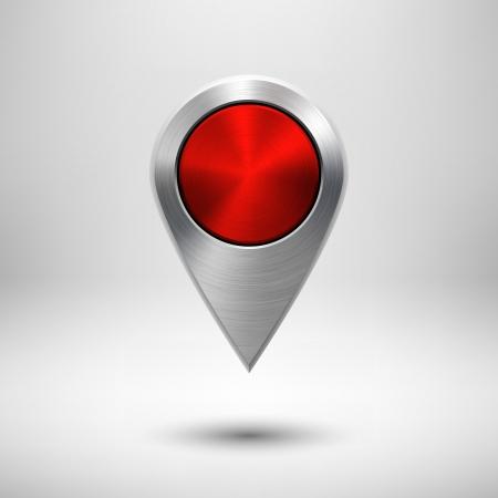 Mapa Technology ukazatel (tlačítko, odznak) šablony s červeným kovových textury (chrom, stříbro, ocel), realistické stínu a světlém pozadí pro uživatelské rozhraní (UI), aplikace (aplikace) a prezentací.