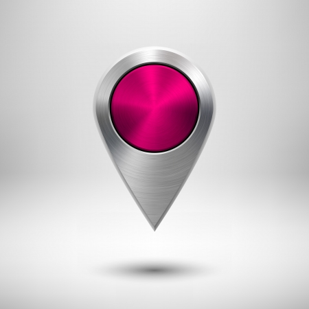 Technology map pointer (button, badge) template with magenta metal texture (chrome, silver, steel), realistic shadow and light background for user interfaces (UI), applications (apps) and presentations.