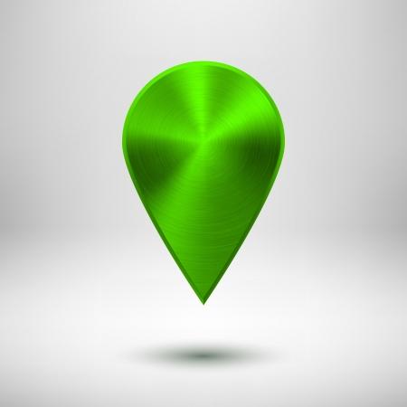 Tecnolog�a puntero del mapa (bot�n, insignia) de plantilla con textura de metal verde (cromo, plata, acero), sombra realista y la luz de fondo de interfaces de usuario (UI), aplicaciones (apps) y presentaciones.