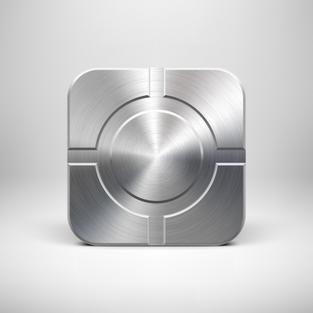 steel: Technology app icon (button) template with metal texture (chrome, silver, steel), realistic shadow and light background for user interfaces (UI), applications (apps) and business presentations. Illustration