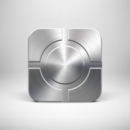 cromo: Tecnología icono de la aplicación (botón) de plantilla con textura de metal (aleación de cromo, plata, acero), sombra realista y la luz de fondo de interfaces de usuario (UI), aplicaciones (apps) y presentaciones de negocios.