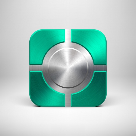 Technology app icon (button) template with emerald metal texture (chrome, silver, steel, bronze), shadow and light background for user interfaces (UI), applications (apps) and business presentations. Stock Vector - 21732274