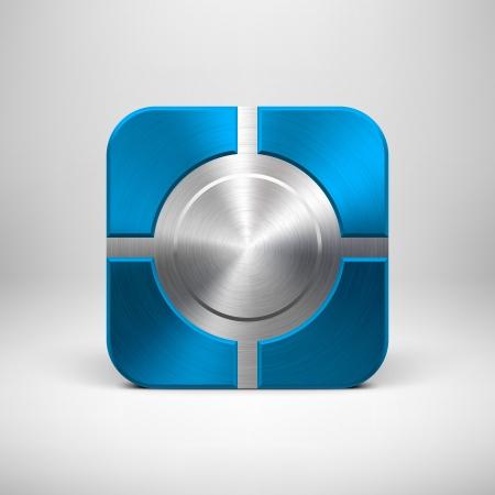 Technologie app icoon (knop) sjabloon met blauwe metalen structuur (chroom, zilver, staal, brons), schaduw en licht achtergrond voor user interfaces (UI), applicaties (apps) en zakelijke presentaties.