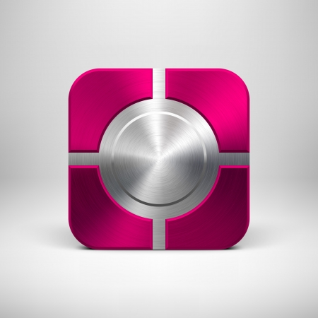 Technology app icon (button) template with magenta metal texture (chrome, silver, steel, bronze), shadow and light background for user interfaces (UI), applications (apps) and business presentations. Stock Vector - 21732307