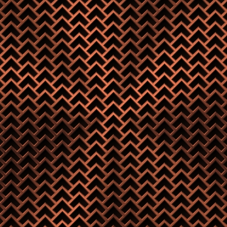 Technology background with bronze metal texture (chrome, silver, steel, iron, copper) and seamless perforated lozenge pattern for user interfaces (UI), applications (apps) and business presentations.