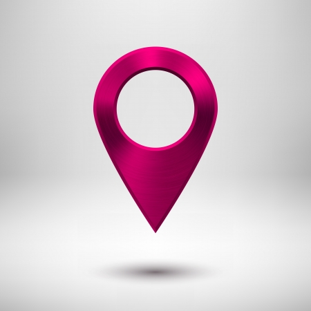 Technology map pointer (button, badge) template with magenta metal texture Ilustrace