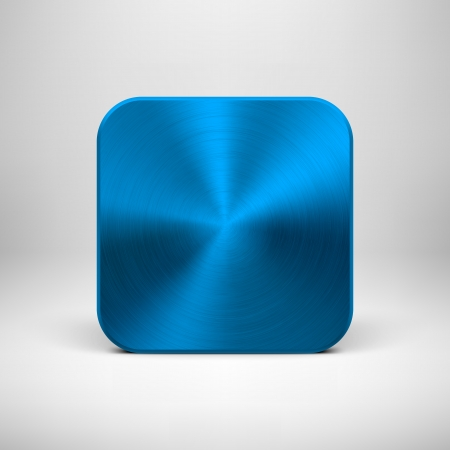 Technology blank app icon (button) template with blue (cyan) metal texture (chrome, steel), realistic shadow and light background  일러스트
