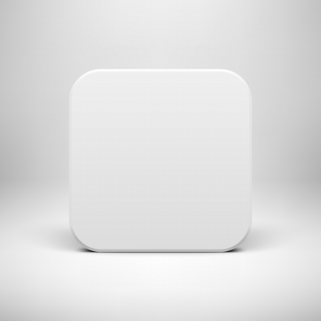 White technology app icon (button) blank template with realistic  shadow and light background  イラスト・ベクター素材