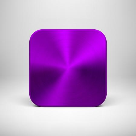 パープル (紫) 金属テクスチャ (クロム、銀、鋼) と技術空のアプリケーション アイコン (ボタン) テンプレート現実的な影と光の背景