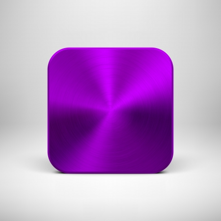 Technology blank app icon (button) template with purple (violet) metal texture (chrome, silver, steel), realistic shadow and light background