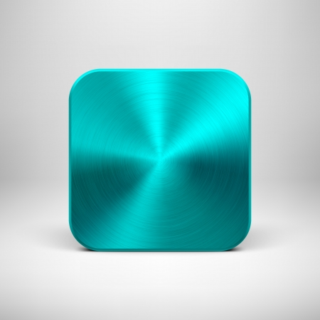 ios: Technology blank app icon (button) template with cyan (blue) metal texture (chrome, silver, steel), realistic shadow and light background